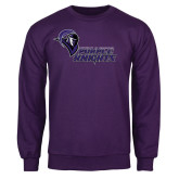 Purple Fleece Crew-Purple Knights Stacked w/ Knight Head