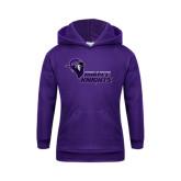 Youth Purple Fleece Hoodie-Purple Knights Stacked w/ Knight Head