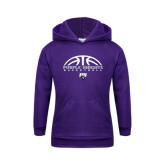 Youth Purple Fleece Hoodie-Basketball Half Ball Design