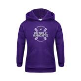 Youth Purple Fleece Hoodie-Baseball Ball Design