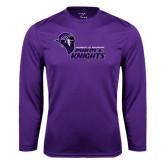 Performance Purple Longsleeve Shirt-Purple Knights Stacked w/ Knight Head