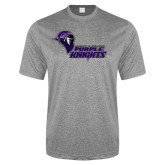 Performance Grey Heather Contender Tee-Purple Knights Stacked w/ Knight Head