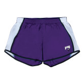 Ladies Purple/White Team Short-Primary Mark