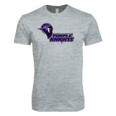 Next Level SoftStyle Heather Grey T Shirt-Purple Knights Stacked w/ Knight Head