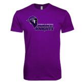 Next Level SoftStyle Purple T Shirt-Purple Knights Stacked w/ Knight Head