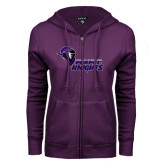 ENZA Ladies Purple Fleece Full Zip Hoodie-Purple Knights Stacked w/ Knight Head