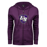 ENZA Ladies Purple Fleece Full Zip Hoodie-UB Shield