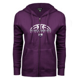 ENZA Ladies Purple Fleece Full Zip Hoodie-Basketball Half Ball Design