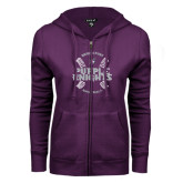 ENZA Ladies Purple Fleece Full Zip Hoodie-Baseball Ball Design