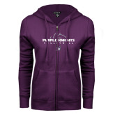 ENZA Ladies Purple Fleece Full Zip Hoodie-Volleyball Ball Design