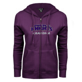 ENZA Ladies Purple Fleece Full Zip Hoodie-Grandma