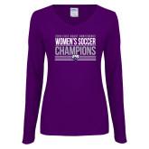 Ladies Purple Long Sleeve V Neck Tee-2018 ECC Womens Soccer Champions