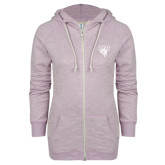 ENZA Ladies Hot Violet Marled Full Zip Hoodie-Primary Mark