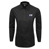 Ladies Black Tonal Pattern Long Sleeve Shirt-Primary Mark