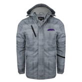 Grey Brushstroke Print Insulated Jacket-Purple Knights