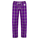 Ladies Purple/White Flannel Pajama Pant-Primary Mark
