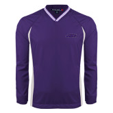 Colorblock V Neck Purple/White Raglan Windshirt-Purple Knights