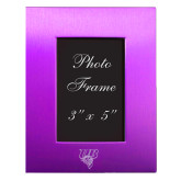 Purple Brushed Aluminum 3 x 5 Photo Frame-Primary Mark Engraved