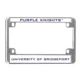 Metal Motorcycle License Plate Frame in Chrome-Purple Knights