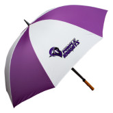 64 Inch Purple/White Umbrella-Purple Knights Stacked w/ Knight Head