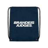 Navy Drawstring Backpack-Brandeis Judges Wordmark