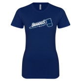 Next Level Ladies SoftStyle Junior Fitted Navy Tee-Brandeis Athletics