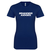 Next Level Ladies SoftStyle Junior Fitted Navy Tee-Brandeis Judges Wordmark