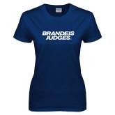 Ladies Navy T Shirt-Brandeis Judges Wordmark