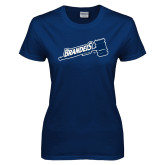 Ladies Navy T Shirt-Fencing