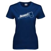 Ladies Navy T Shirt-Fencing