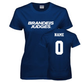Ladies Navy T Shirt-Brandeis Judges Wordmark, Personalized Name and #