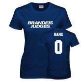 Ladies Navy T Shirt-Brandeis Judges Wordmark, Personalized Name and #