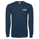 Navy Long Sleeve T Shirt-Brandeis Judges Wordmark