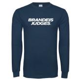 Navy Long Sleeve T Shirt-Brandeis Judges Wordmark