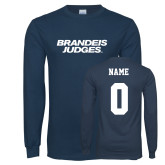 Navy Long Sleeve T Shirt-Brandeis Judges Wordmark, Personalized Name and #