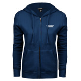 ENZA Ladies Navy Fleece Full Zip Hoodie-Brandeis Judges Wordmark