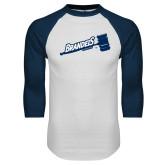 White/Navy Raglan Baseball T Shirt-Brandeis Athletics