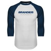 White/Navy Raglan Baseball T Shirt-Brandeis Judges Wordmark