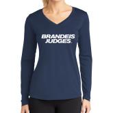 Ladies Syntrel Performance Navy Longsleeve Shirt-Brandeis Judges Wordmark