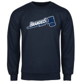 Navy Fleece Crew-Brandeis Athletics