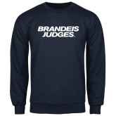 Navy Fleece Crew-Brandeis Judges Wordmark