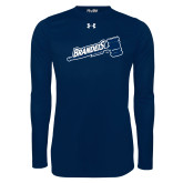 Under Armour Navy Long Sleeve Tech Tee-Brandeis Athletics