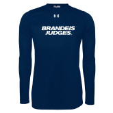 Under Armour Navy Long Sleeve Tech Tee-Brandeis Judges Wordmark