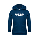 Youth Navy Fleece Hoodie-Brandeis Judges Wordmark