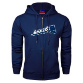 Navy Fleece Full Zip Hoodie-Brandeis Athletics