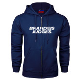 Navy Fleece Full Zip Hoodie-Brandeis Judges Wordmark