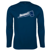 Performance Navy Longsleeve Shirt-Brandeis Athletics