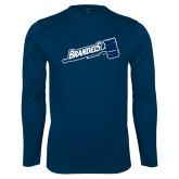 Syntrel Performance Navy Longsleeve Shirt-Brandeis Athletics