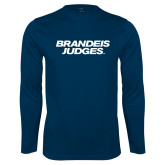Performance Navy Longsleeve Shirt-Brandeis Judges Wordmark