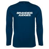 Syntrel Performance Navy Longsleeve Shirt-Brandeis Judges Wordmark